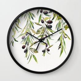 Olive Branch Watercolor  Wall Clock