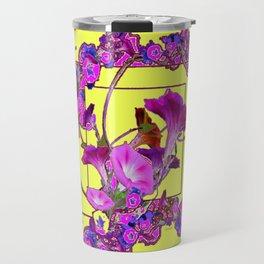 Decorative  Purple Vining Flowers Yellow Art Travel Mug