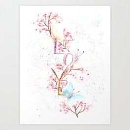 Love Butterflies Watercolor Illustration Art Print