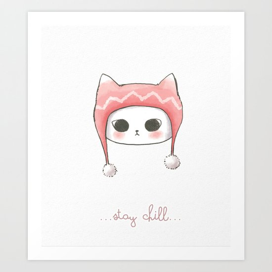 Stay Chill Cat Art Print