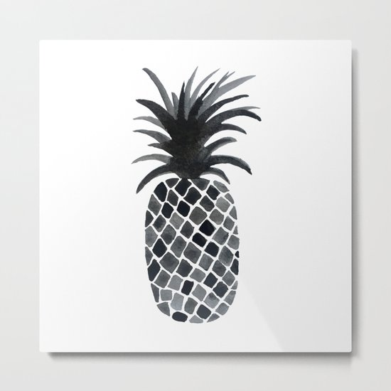 Black and White Pineapple Metal Print