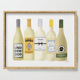 White Wine Bottles Illustration Serving Tray