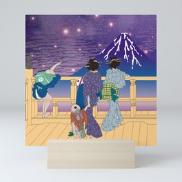 Hokusai People Seeing Mt. Fuji under the Stars Mini Art Print