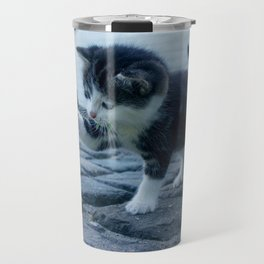 Kitten Playing With Flower Travel Mug