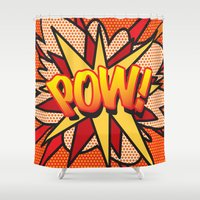 comic book Shower Curtains featuring Comic Book POW! by Thisisnotme