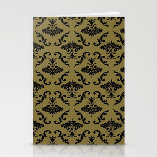 Gold Damask Stationery Cards