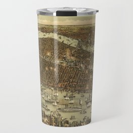 Vintage Pictorial Map of NYC and Brooklyn (1892) Travel Mug