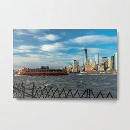 Freedom Tower 2013 w/ Boat Metal Print