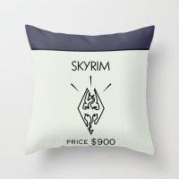 skyrim Throw Pillows featuring Skyrim Monopoly Location by HuckBlade