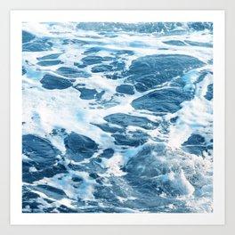 Foamy Ocean Surf Waves In Turquoise & Indigo Blue Art Print