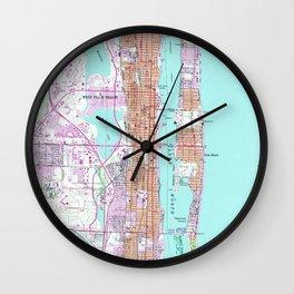 Vintage Map of Palm Beach Florida (1946) 2 Wall Clock