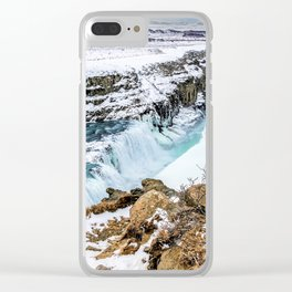 Gulfoss Iceland in Winter Clear iPhone Case