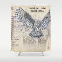 His Master's Voice - The Owl Shower Curtain