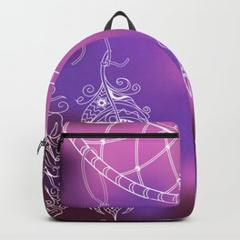 violet ethnic pattern with feathers Backpack