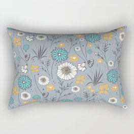 Emma_Wildflowers in Faded Denim Blue Rectangular Pillow