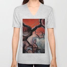 Abstract black red blue painting Unisex V-Neck