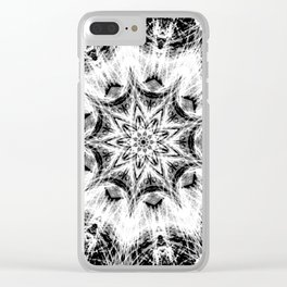 Atomic Black Center Swirl Mandala Clear iPhone Case