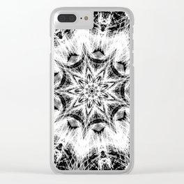 Atomic Black Center Swirl Mandala Clear iPhone Case