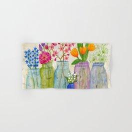 Springs Flowers in Old Jars Hand & Bath Towel