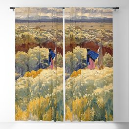 """""""Greasewood and Sage"""" Western Art by Walter Ufer Blackout Curtain"""
