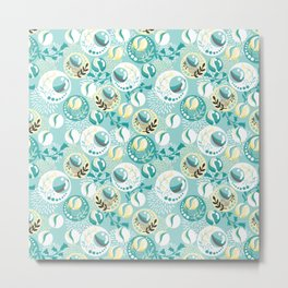 Light Teal Marble Balls Metal Print