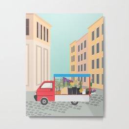 Flower Truck in Rome, Italy Metal Print
