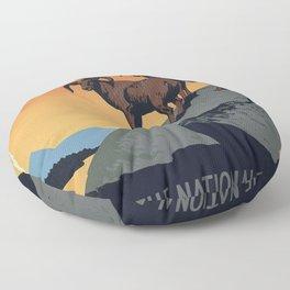 Vintage National Park Poster Floor Pillow