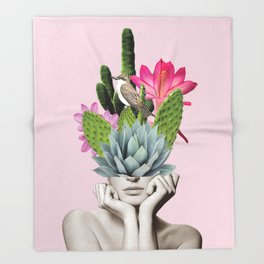 Cactus Lady Throw Blanket