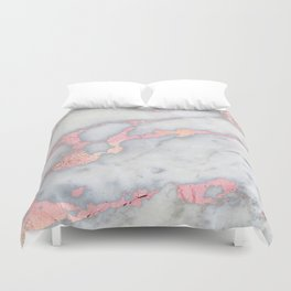 Rosegold Pink on Gray Marble Metallic Foil Style Duvet Cover