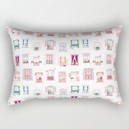 Stay home, stay safe - Rome windows and balcony pattern Rectangular Pillow