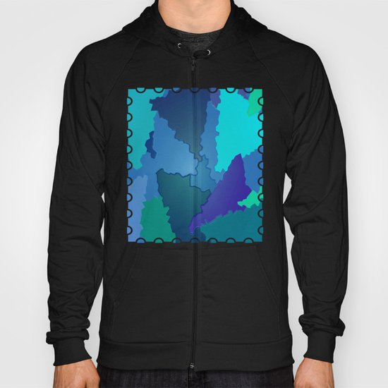 Blues and Greens Puzzle Patchwork Hoody