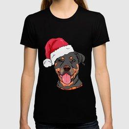 Rottweiler Boxer Dog Christmas Hat Present T-shirt