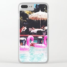 Flamingo Beer Races at the Chateau Marmont Clear iPhone Case