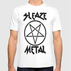 SLEAZE METAL MEDIUM White Mens Fitted Tee