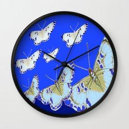 PATTERN OF BLUE & WHITE BUTTERFLIES MODERN ART Wall Clock