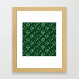 Modern hand painted forest green white cactus floral Framed Art Print