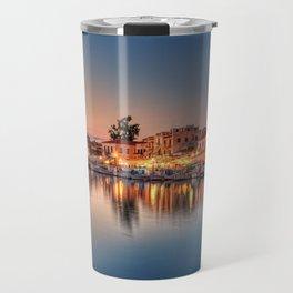 The port of Aegina island just after sunset, Greece Travel Mug