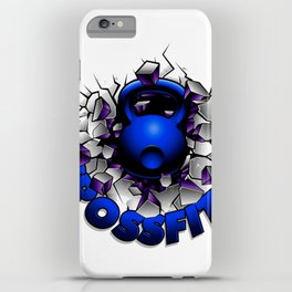 Blue kettlebell breaking the wall.Crossfit. iPhone Case