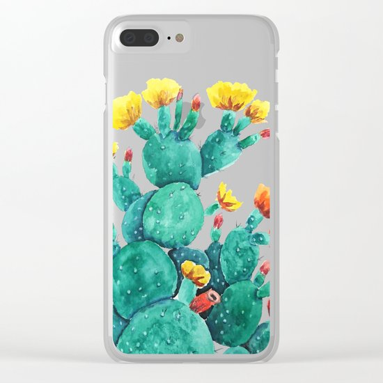 flowering cactus watercolor painting Clear iPhone Case