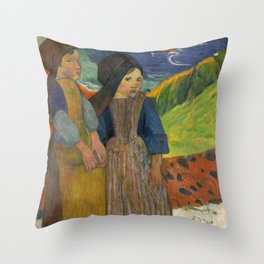 Two Breton Girls by the Sea by Paul Gauguin Throw Pillow