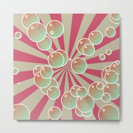 Bubbles on radial background Metal Print
