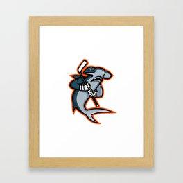Hammerhead Ice Hockey Player Mascot Framed Art Print