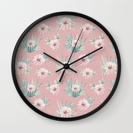 Echeveria Garden Roses Coral Rose Pink Wall Clock