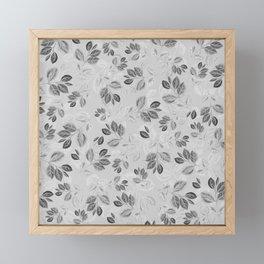 Black and White Leaves Pattern #2 Framed Mini Art Print
