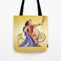 hercules Tote Bags featuring Leo - Hercules by AmadeuxArt