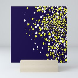Tiny Bubbles in Navy Blue with White and Yellow Mini Art Print