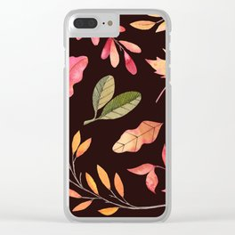 Pink orange yellow brown watercolor fall acorn leaves Clear iPhone Case