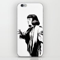 mia wallace iPhone & iPod Skins featuring Mia Wallace by El Kane