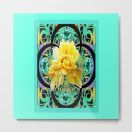 Yellow Rose Aqua Color Floral Gems Design Metal Print