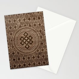 Endless Knot Decorative on Wooden Surface Stationery Cards
